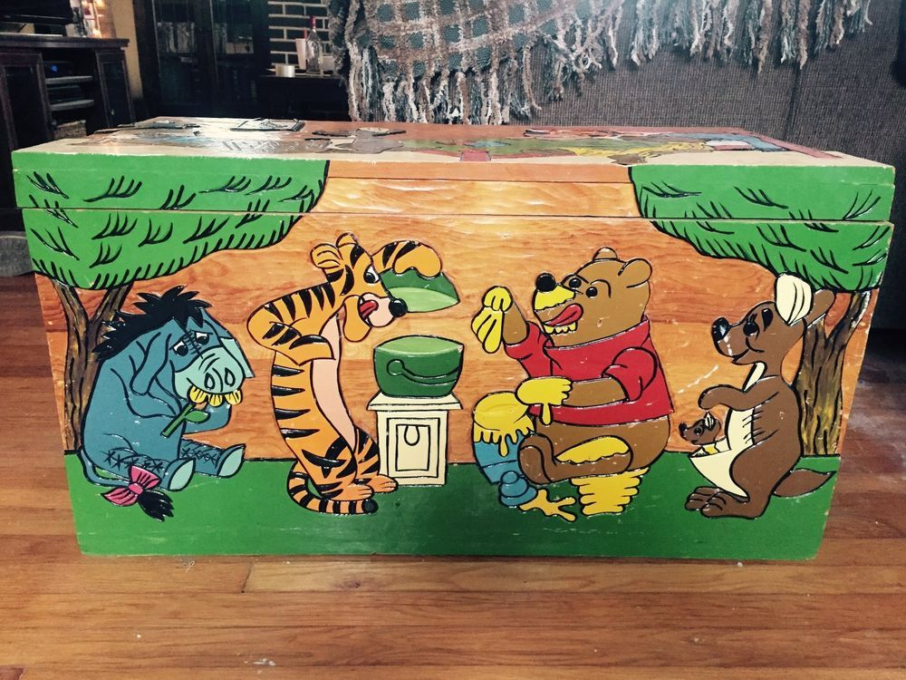 Extremely Rare Vintage Wooden Hand Carved Winnie The Pooh Toy Box Hope Chest Wooden Hand Toy Boxes Disney Collectables