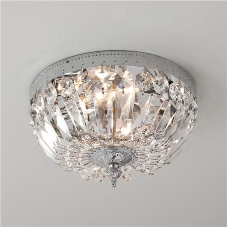 Antique Reproduction Cut Crystal Basket Flush Mount Hall Lights