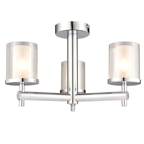 Endon britton 3lt semi flush bathroom light glass shades chrome and lights