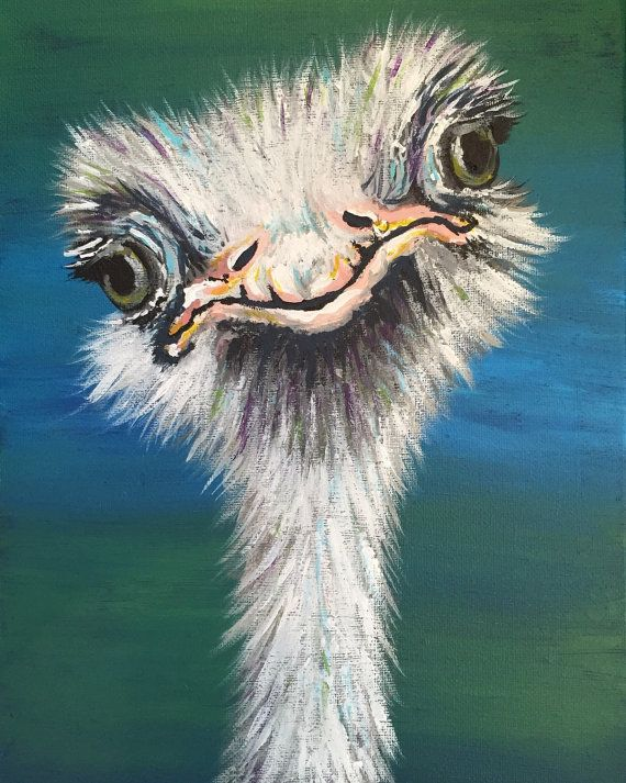 Curious Ostrich Painting, Hand Painted Wall Art, Colorful ...