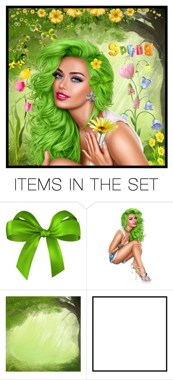 """""""the great green time is here again...SPRINGTIME"""" by groen ❤ liked on Polyvore featuring art"""