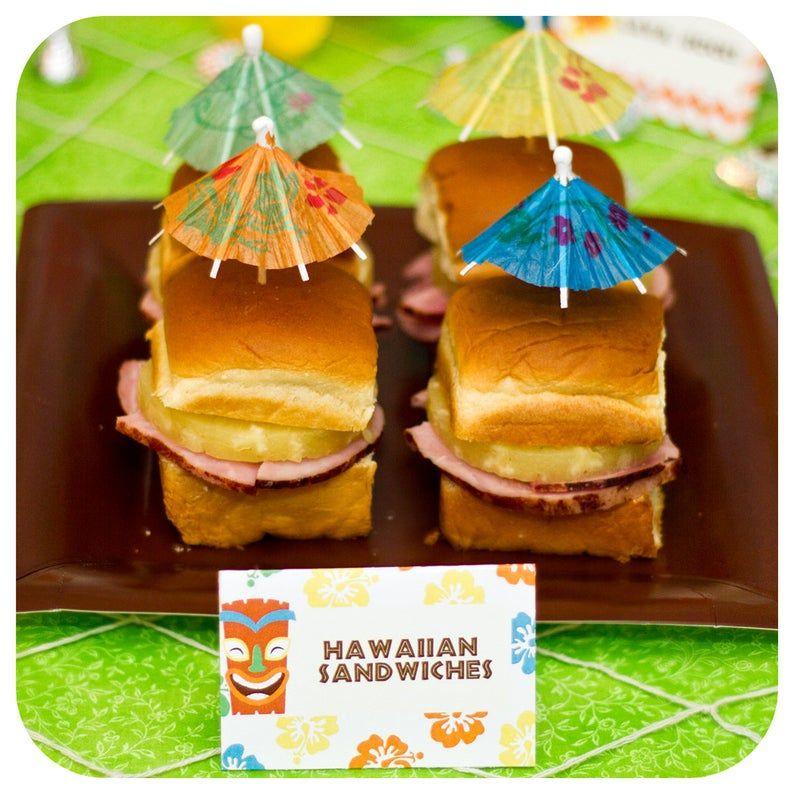Luau Food Labels; Luau Party; Luau Birthday Party; Food Labels; Tent Cards; Luau Decor; Hawaiian Party Ideas; Hawiian Party; Luau Party;