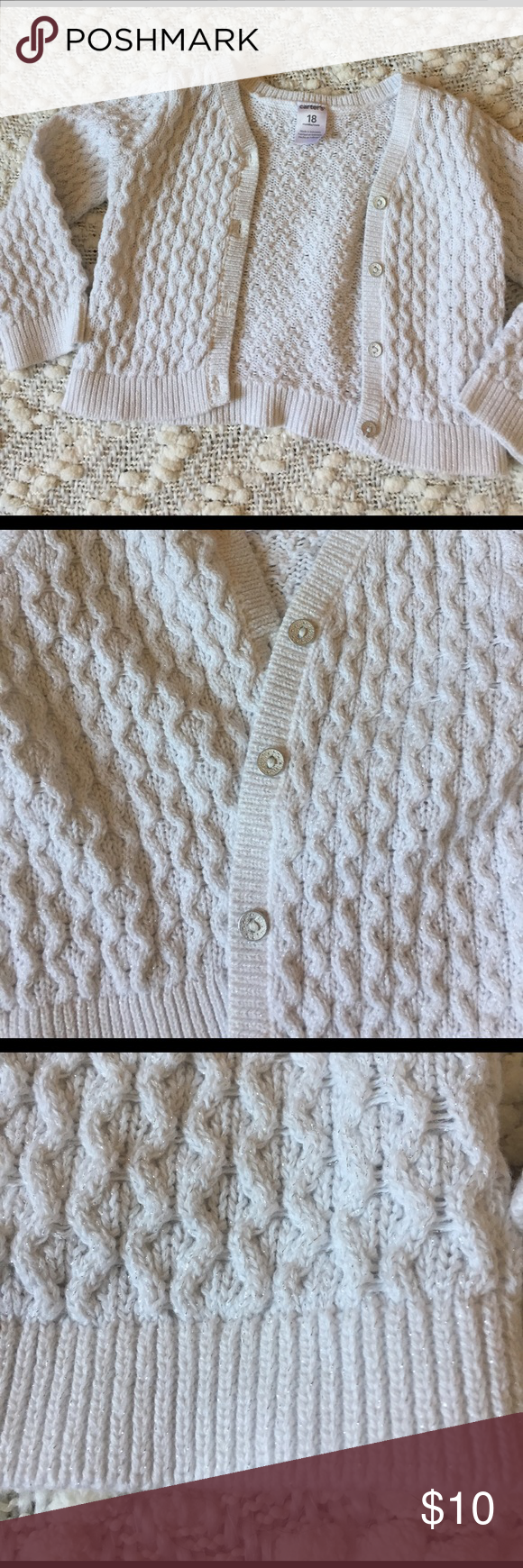 Carters white cardigan w/silver stitching💫Sparkly Adorable Cardigan / like new!! Perfect Condition Carter's Shirts & Tops Sweaters