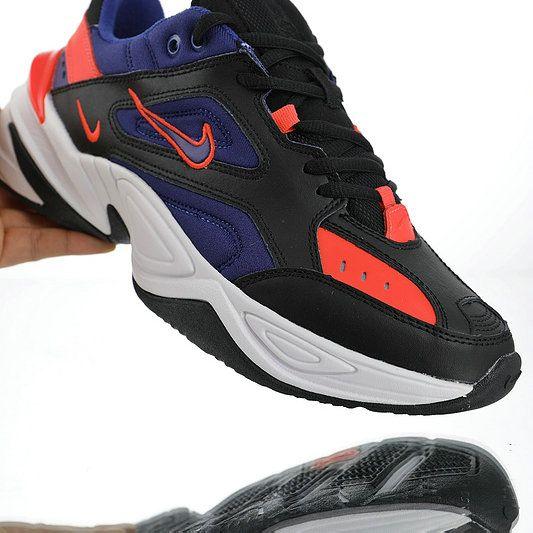 0a4abb5f022 Nike M2K Tekno Dark blue black orange red AV4789-006 Mens Womens Winter  Running Shoes