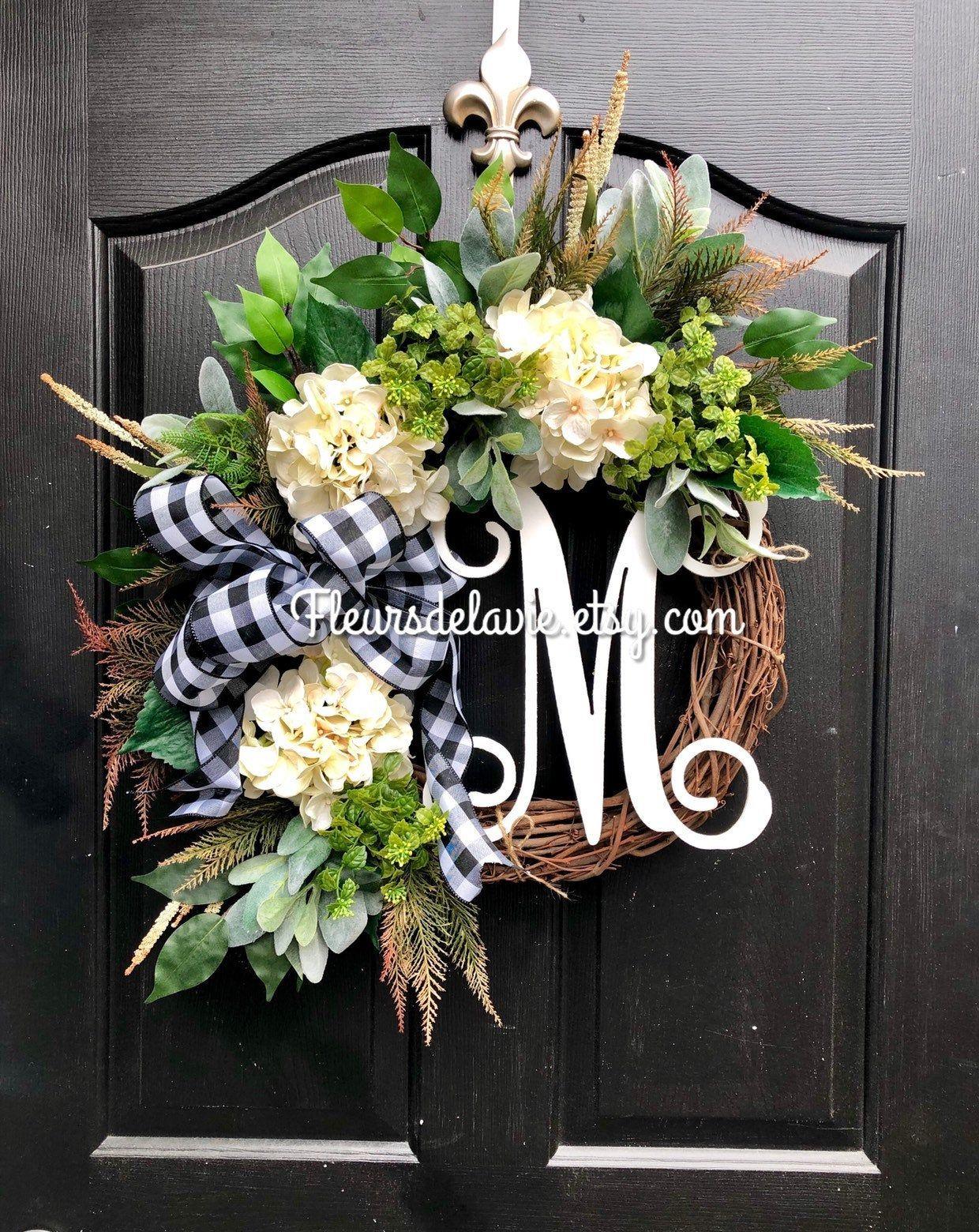Photo of NEW! Farmhouse wreath, front door wreaths, spring door wreaths, spring wreath for door, buffalo check wreath, farmhouse Christmas wreath