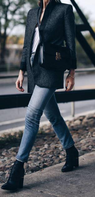 slouchy tweed coat, denim, black booties