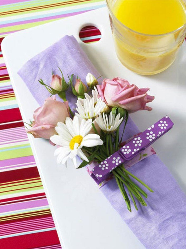 crafts clothespins decorating ideas flowers napkin