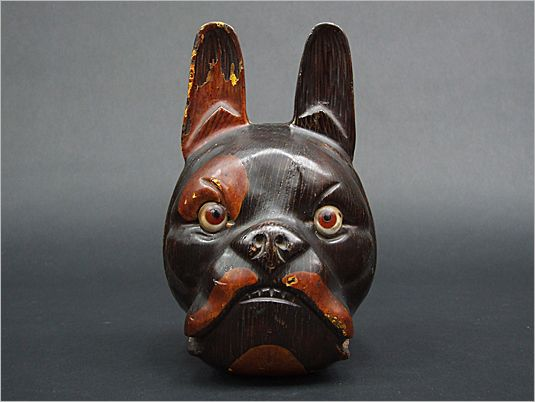 1940's carved wooden Bulldog head