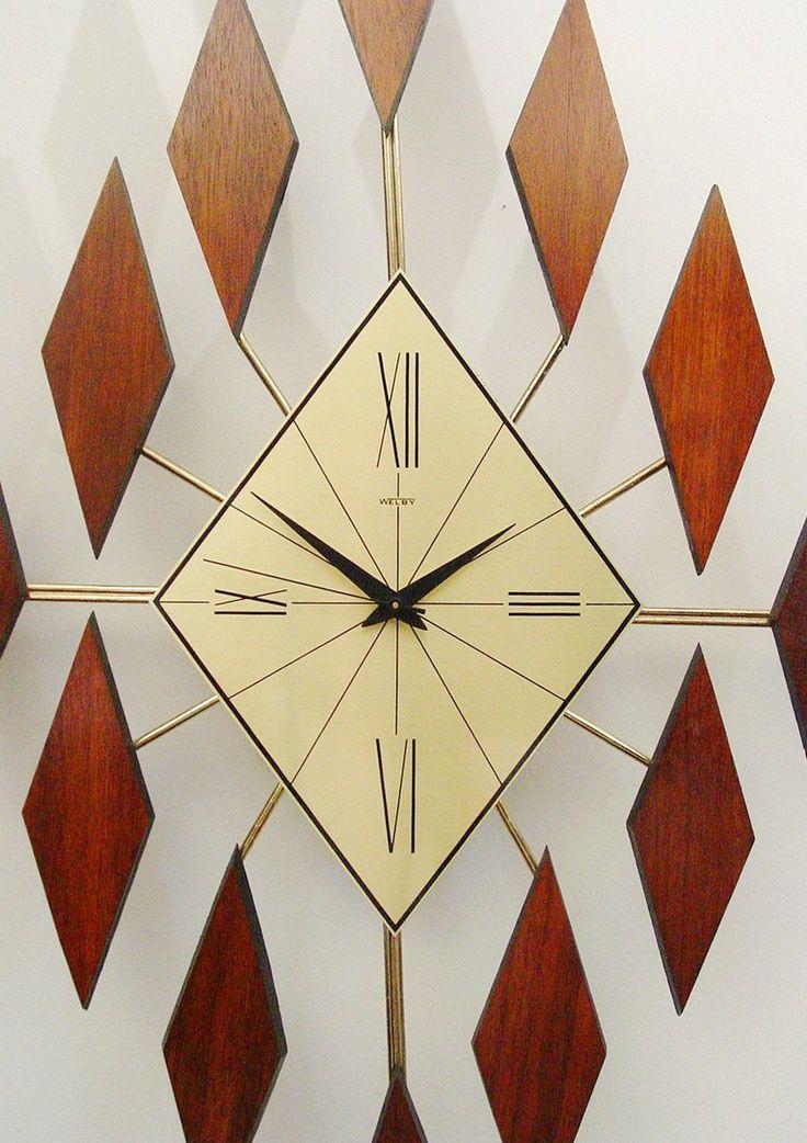 Welby Wall Clock Mid Century Modern Starburst Diamonds