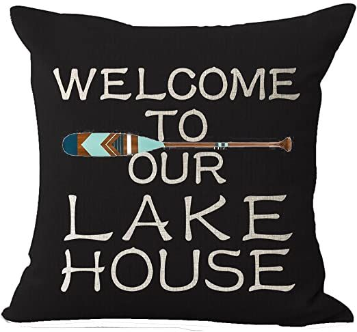 Queen's designer Best Gift Funny Inspirational Sayings Welcome to Our Lake House...