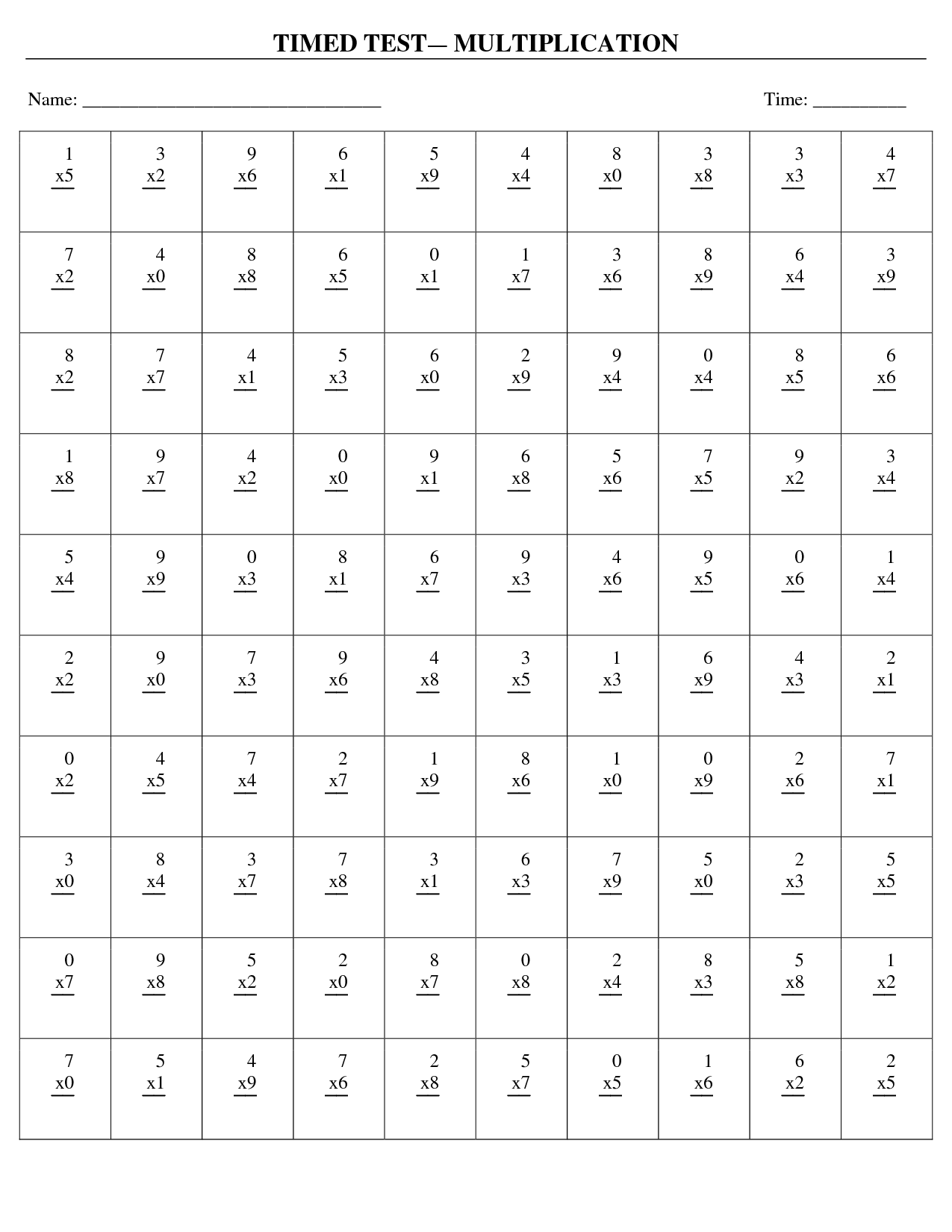 Multiplication Timed Test Worksheets | matematyka | Pinterest ...