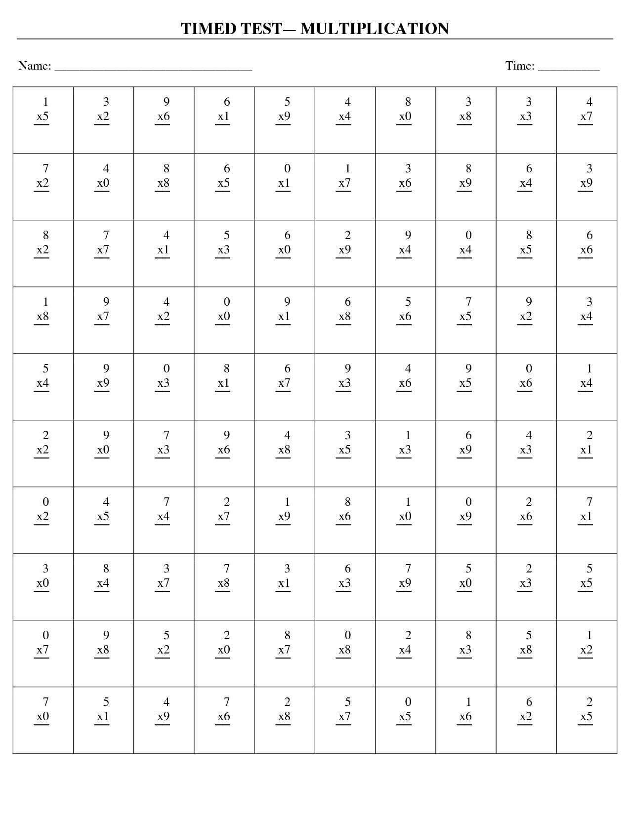 Multiplication Timed Test Worksheets matematyka