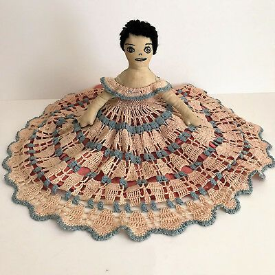 Vintage Handmade Bed Pillow Doll Crocheted Crochet Blue Tan Dress #indianbeddoll