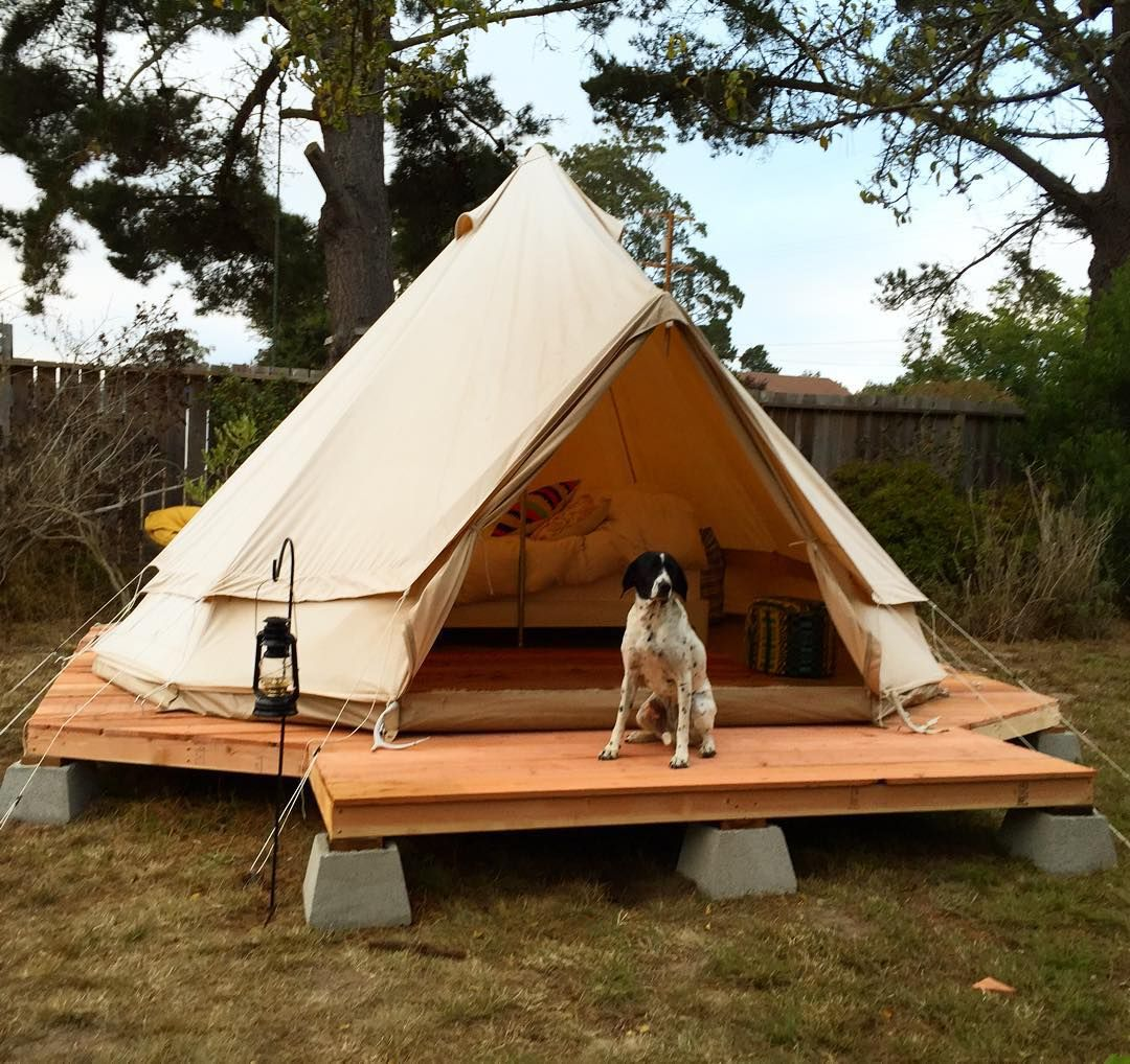 Simple wood platform on cinder blocks backyard yurt tent for Tent platform construction