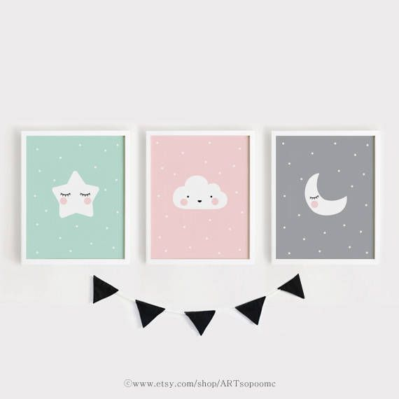 Star Cloud Moon nursery decor Printable Nursery Art Set of 3 Poster ...