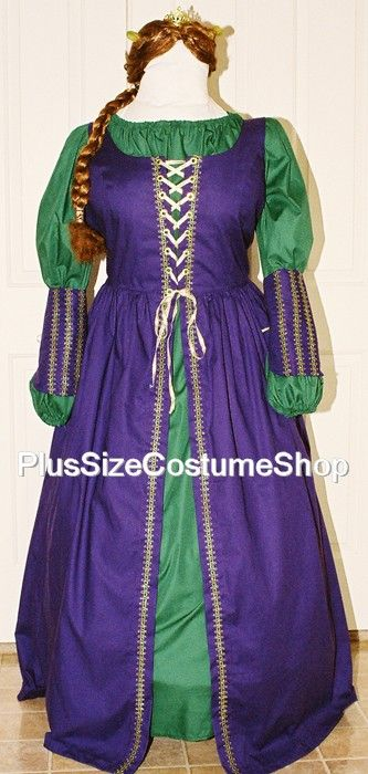 Handmade Plus Size Fiona Costume From The Shrek Purple Green Gold Renaissance Dress Gown Ogre Queen