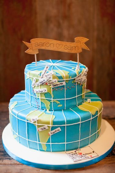 Two Layer Cake With Fondant Map With Images Travel Cake Map