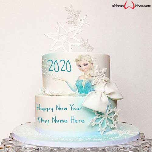 write on happy new year frozen wish cake