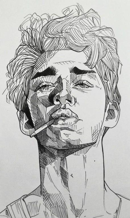 Boy with a cigarette, Me, Black pen, 2019