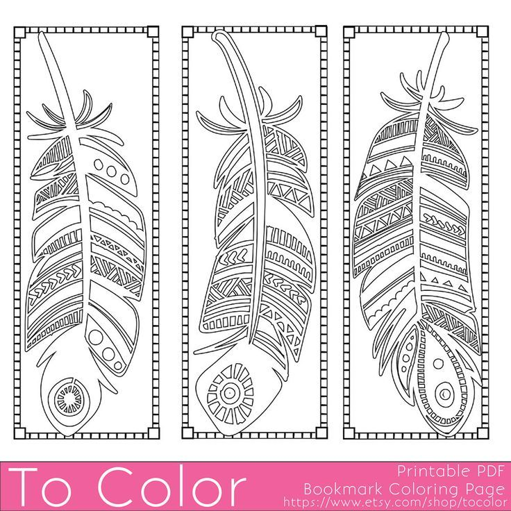 Printable feathers coloring page bookmarks for adults pdf jpg instant download coloring book coloring sheet grown ups digital stamp