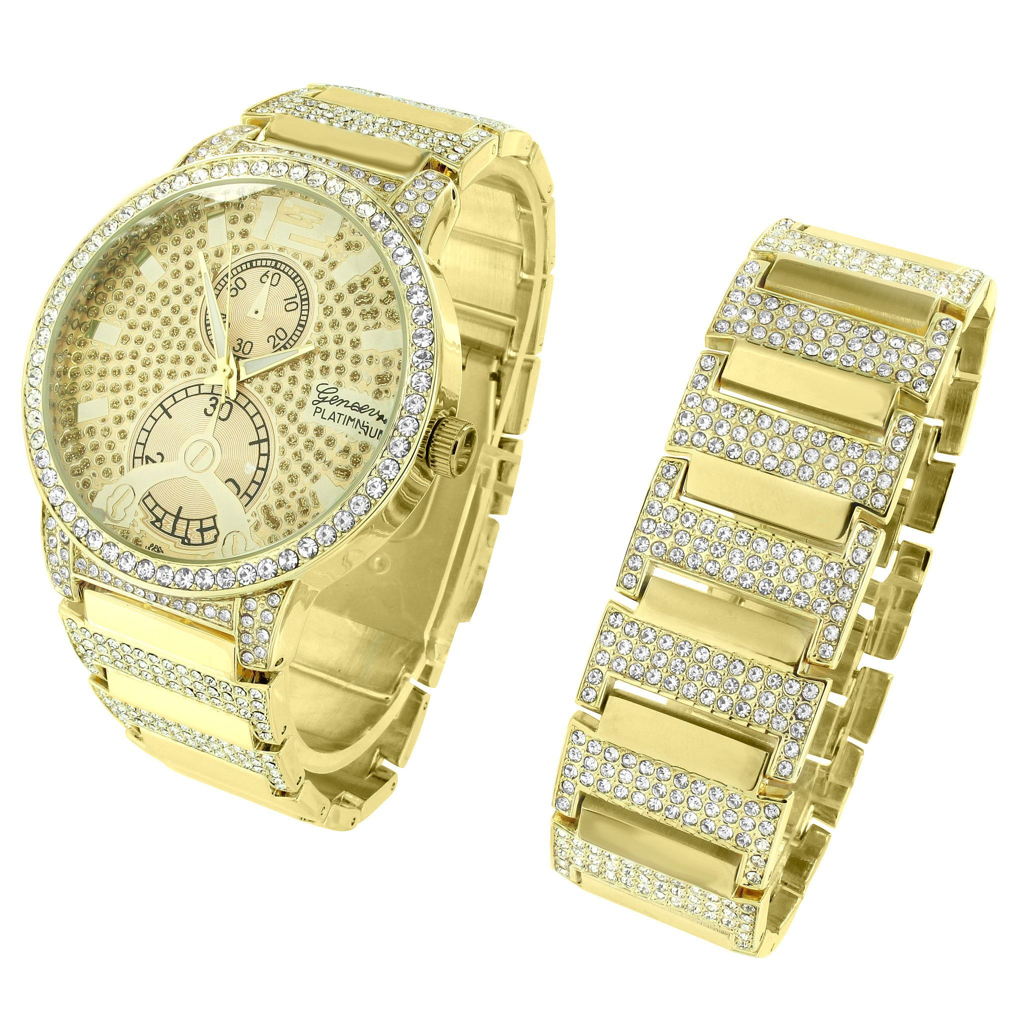 K gold plate watch bracelet hip hop men full iced out simulated