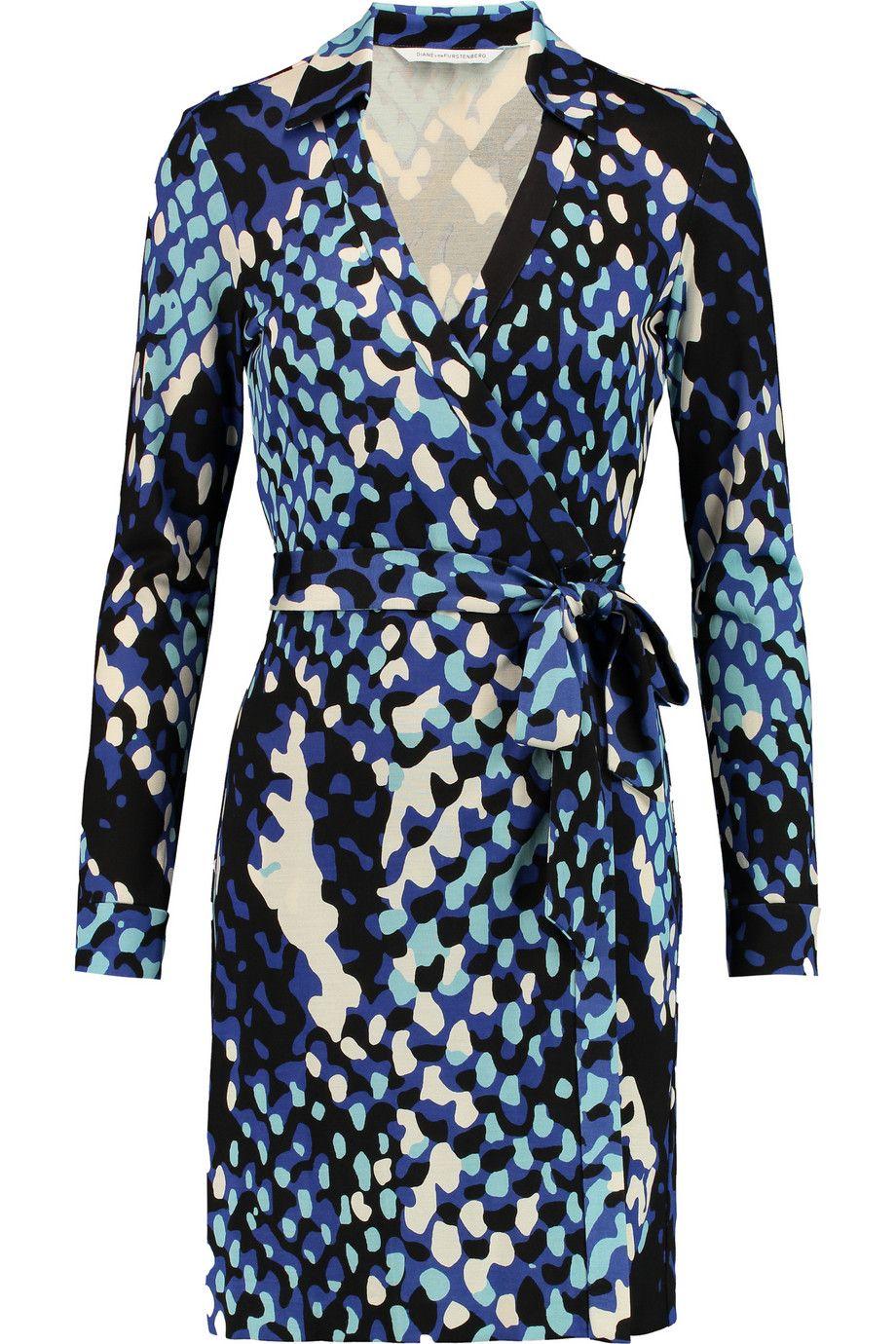 DIANE VON FURSTENBERG Jeanne Printed Silk-Jersey Wrap Mini Dress. #dianevonfurstenberg #cloth #dress