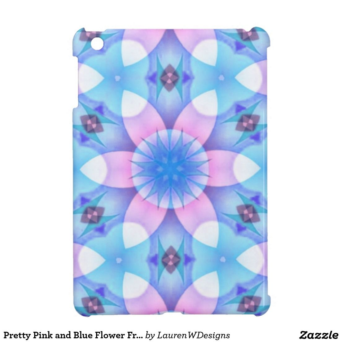 Pretty Pink And Blue Flower Fractal Case For The Ipad Mini