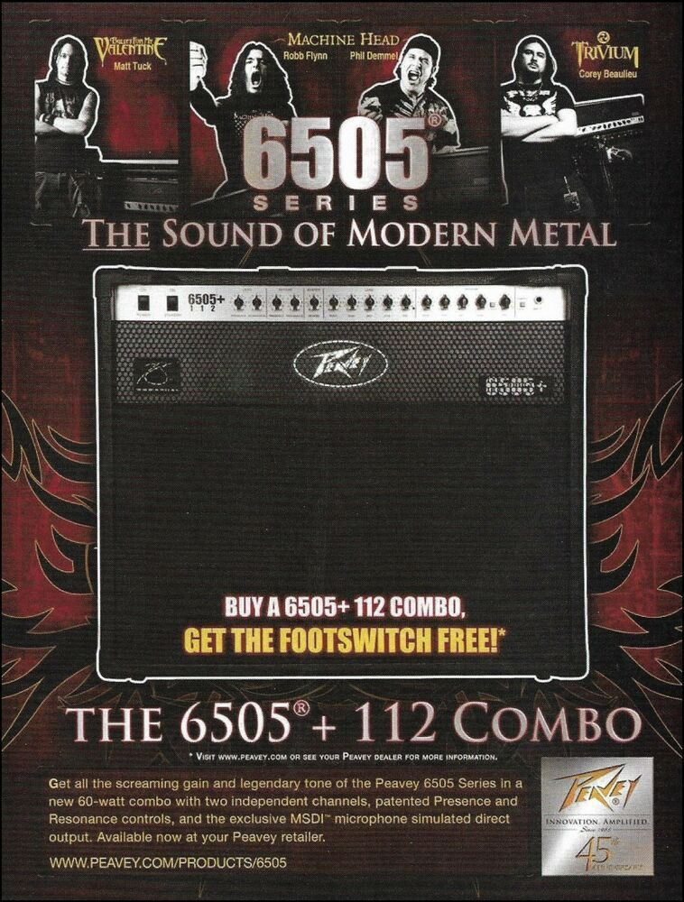 Peavey 6505 Guitar Amp 8 X 11 Ad Bullet For My Valentine Machine Head Trivium Peavey Bullet For My Valentine Peavey Guitar Amp