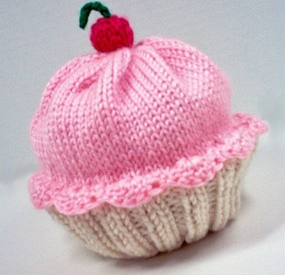 473039862c0 Cupcake Hat with Cherry on Top Vanilla Cream Cake Cotton Candy Frosting  Hand made hand knit - baby t