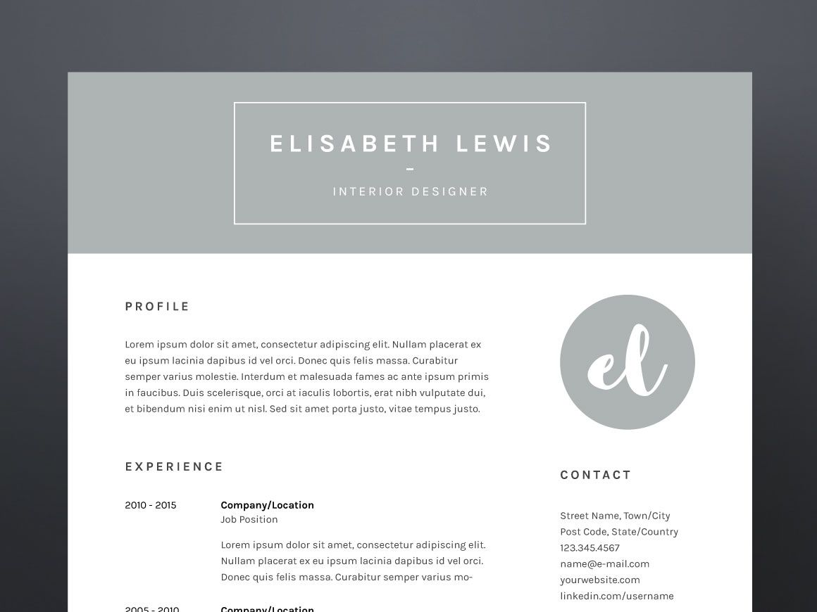 Elisabeth Lewis - Resume/CV Template