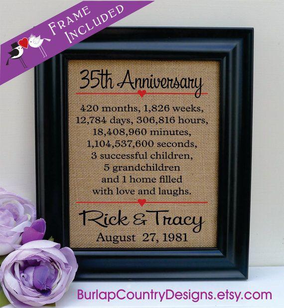 Framed 35th Anniversary 35th Wedding Anniversary Gift 35th