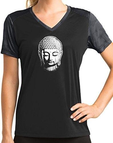 Womens Buddha V-neck Performance yoga Tee - Black Iron Gray   Ladies  XXX-Large c2e09ecc8