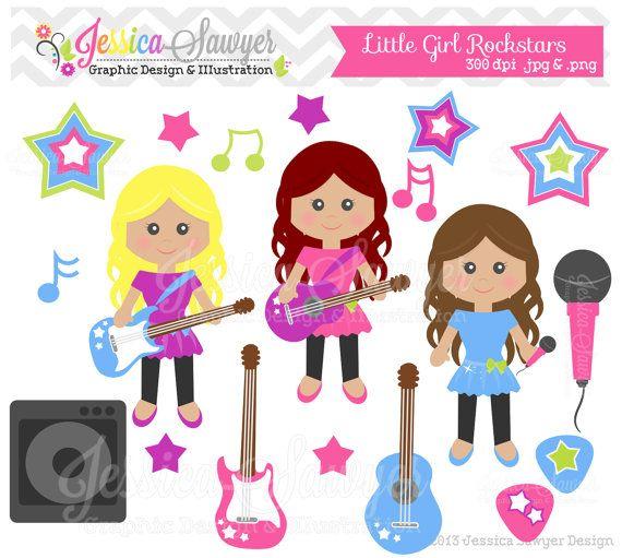 Instant Download Little Girl Rockstar Clipart Rockstar Clip Art Guitar Graphic For Commercial Use Printable B Bonecas De Pano Elementos Graficos Desenhos