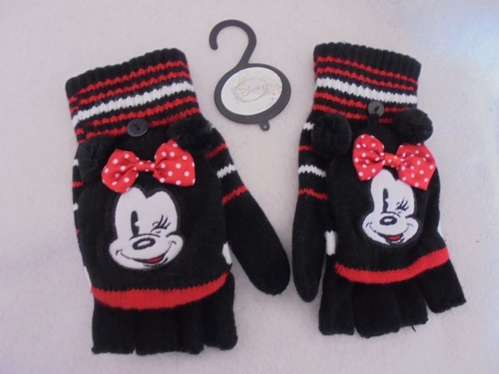 Disney - Black Minnie Mouse w/Bows Fingerless Mittens Gloves 1 Size Girls NWT #Disney #FingerlessGlovesMittens #CasualSchool