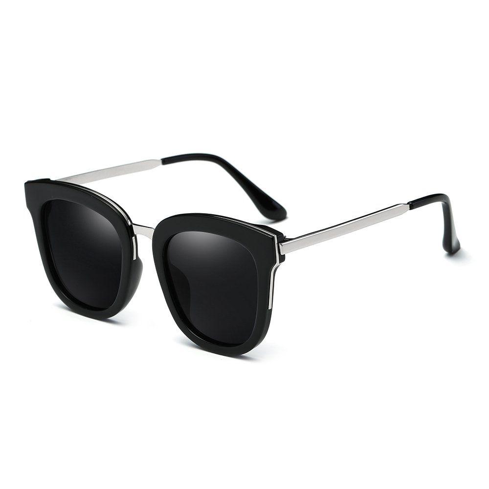 0374ffaecd VeBrellen Vintage Women Polarized Sunglasses Eyewear Men Driving Glasses  With Big Frame Black Frame With Black