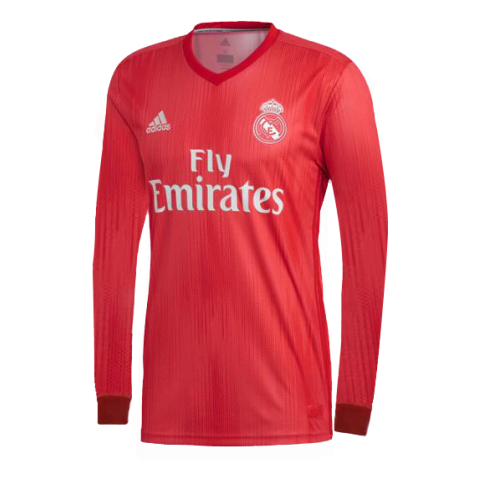 09cc94069bc 18-19 Real Madrid Third Away Red Long Sleeve Jersey Shirt.You can customise  your own by choosing your own name and number. You are also able to choose  from ...