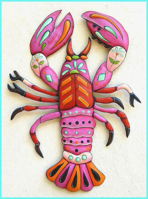 Photo of Painted Metal Pink Lobster Wall Hanging, Beach Decor, Pool Decor, Nautical Decor – 25″