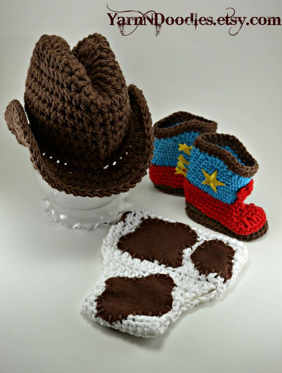 Baby Boy 4 Piece Crocheted Cowboy Hat Boots Cowprint Diaper Set - Photography  Prop - Halloween Costume- Newborn Infant f98e739f1ff9