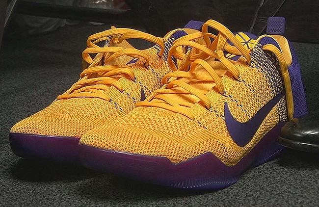 Lakers Nike Kobe 11 Yellow Purple