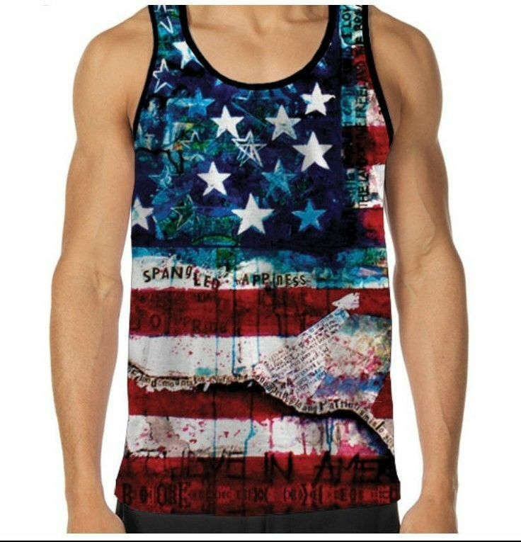 Star Spangled Banner American Flag sublimation Tank Top for Men, Printed in  USA- too fucking American!