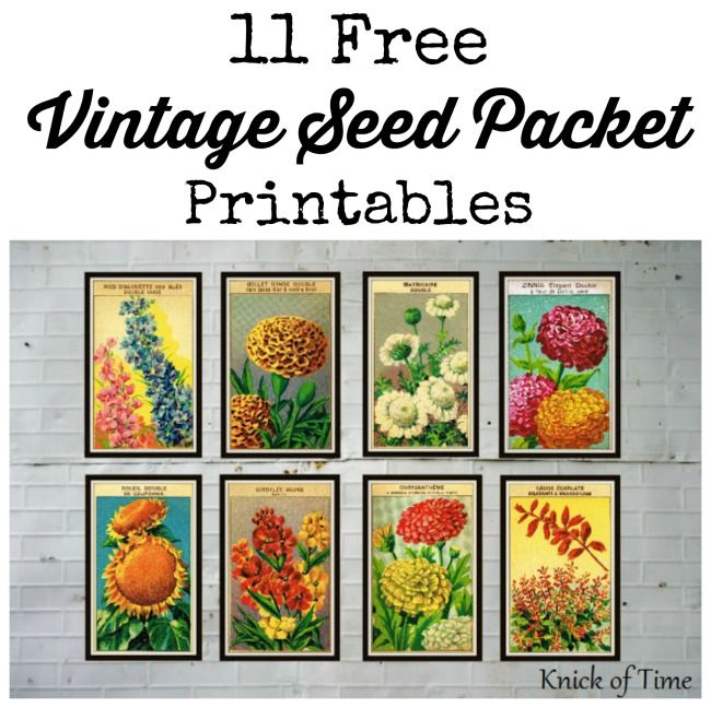 Antique Farmhouse Inspired Free Printable Seed Packets From Knickoftime