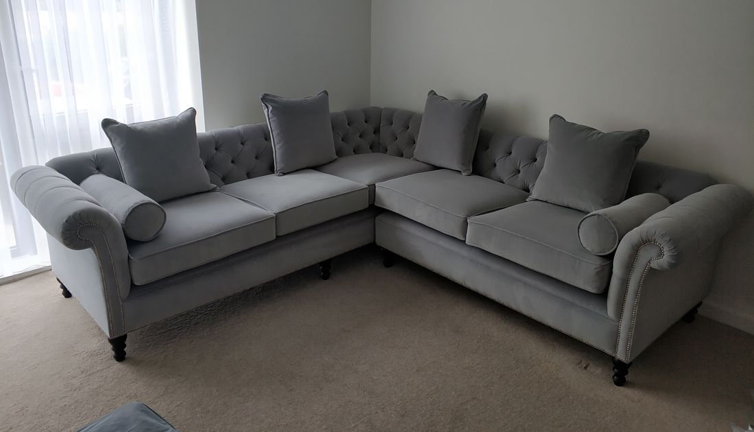 Chesterfield Corner Unit In Grey Velvet Fabric The Chesterfield Sofa Is One Of The Most Stylish Sofas Th Chesterfield Corner Sofa Sofa Bed Design Corner Sofa