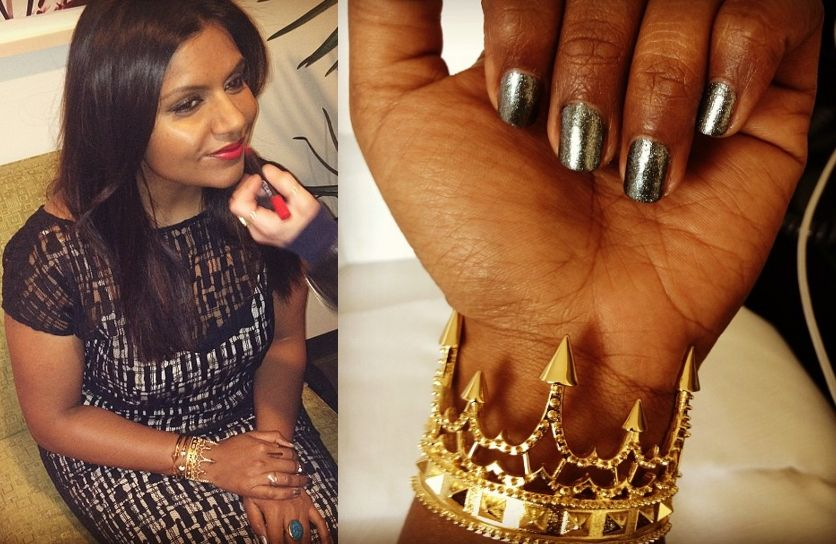 Mindy Kaling wore this fierce gold crown bracelet for her appearance on 'The Daily Show' (5/9/13). /// Jennifer Fisher Crown Cuff