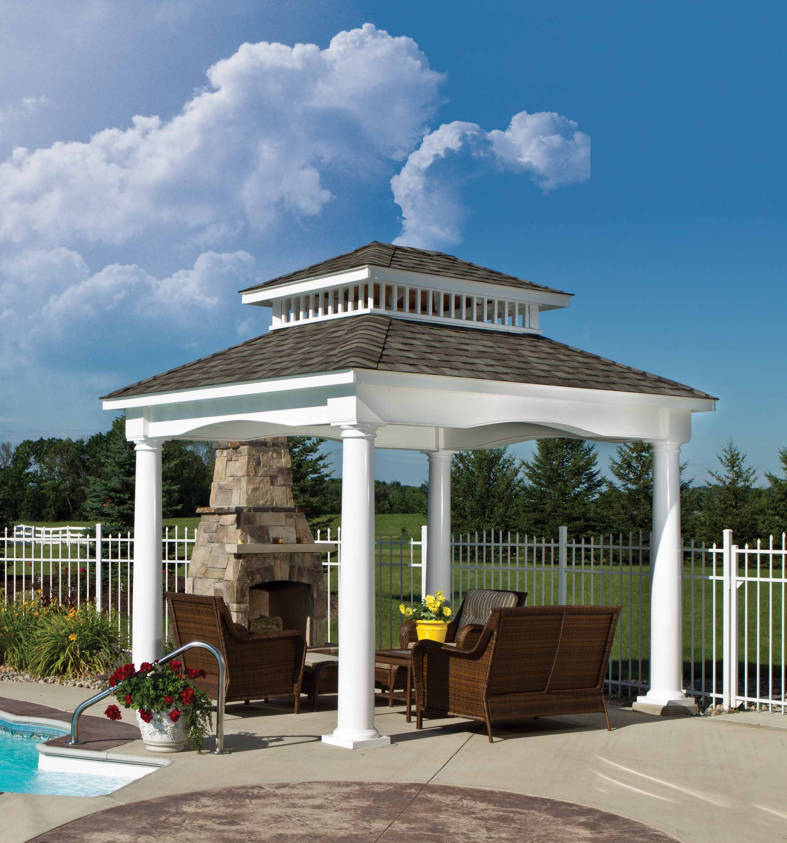 Our Victoria Pavilion In White Vinyl From Berlin Gardens Makes For A  Beautiful Outdoor Living Space