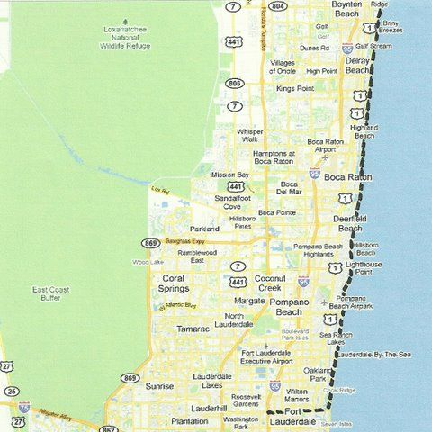 Boynton Florida Map.Florida Backroads Travel Map Of Route From Boynton Beach To Fort