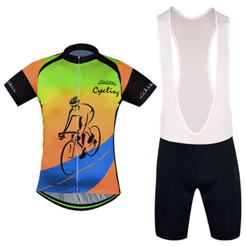 Agoda Men Short Sleeve Breathable Cycling Jersey Sets Men Mountain