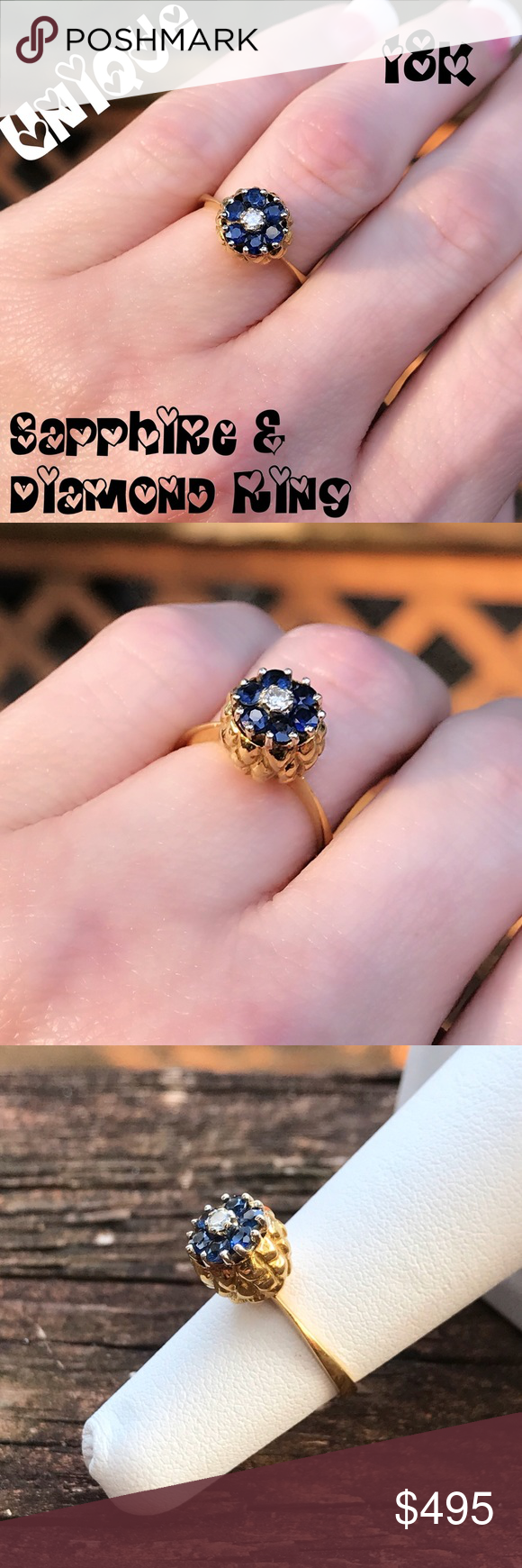 💘18K Solid Amazing Sapphire & Diamond Ring Heavy | Pineapple design ...