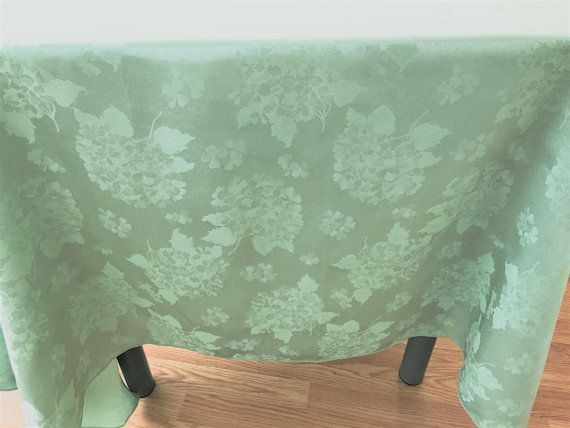 Beautiful Vintage Mint Green Damask Tablecloth Hydrangea Pattern, Green  Damask Tablecloth, Large Mint Green Damask Flower Pattern Tablelcoth
