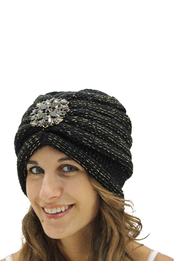 Knit Turban With Beaded Broach   Crochet   Pinterest   Mütze