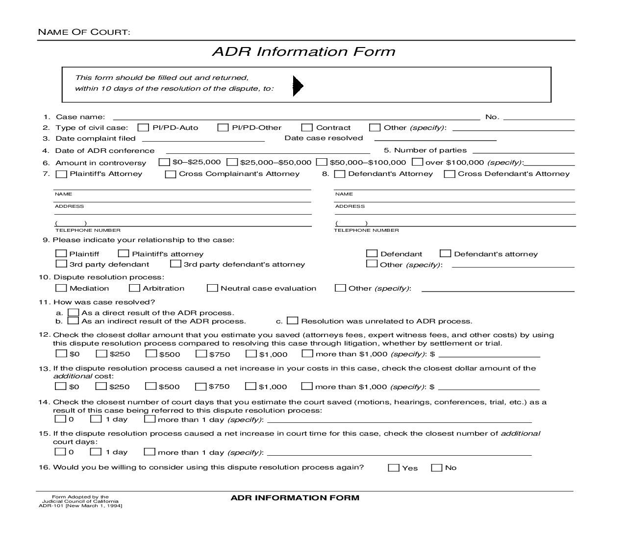 This Is A California Form That Can Be Used For Alternative Dispute